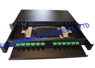 Drawer Type Fiber Optic Distribution Box 1U 12Ports Full Loaded With SC Pigtail